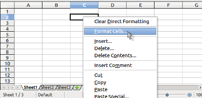 opening format cell option window by right-clicking a cell