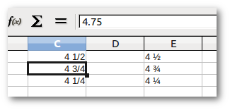A LibreOffice Calc screenshot showing the difference in appearance of a real fraction number and the ones that contain special characters