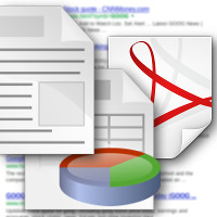 icons for word processor document, spreadsheet, and portable document format with Google search results