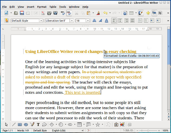LibreOffice writer on Record Changes mode
